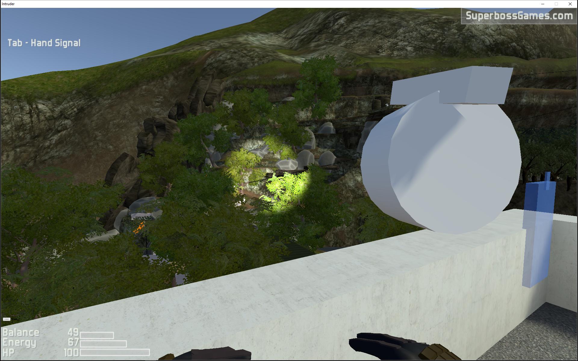 mortar/spotlight on guard building roof