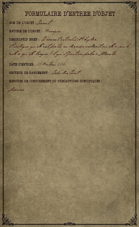 Formulaire d'entrée du carnet d'Eleydor Ferasken Unknown