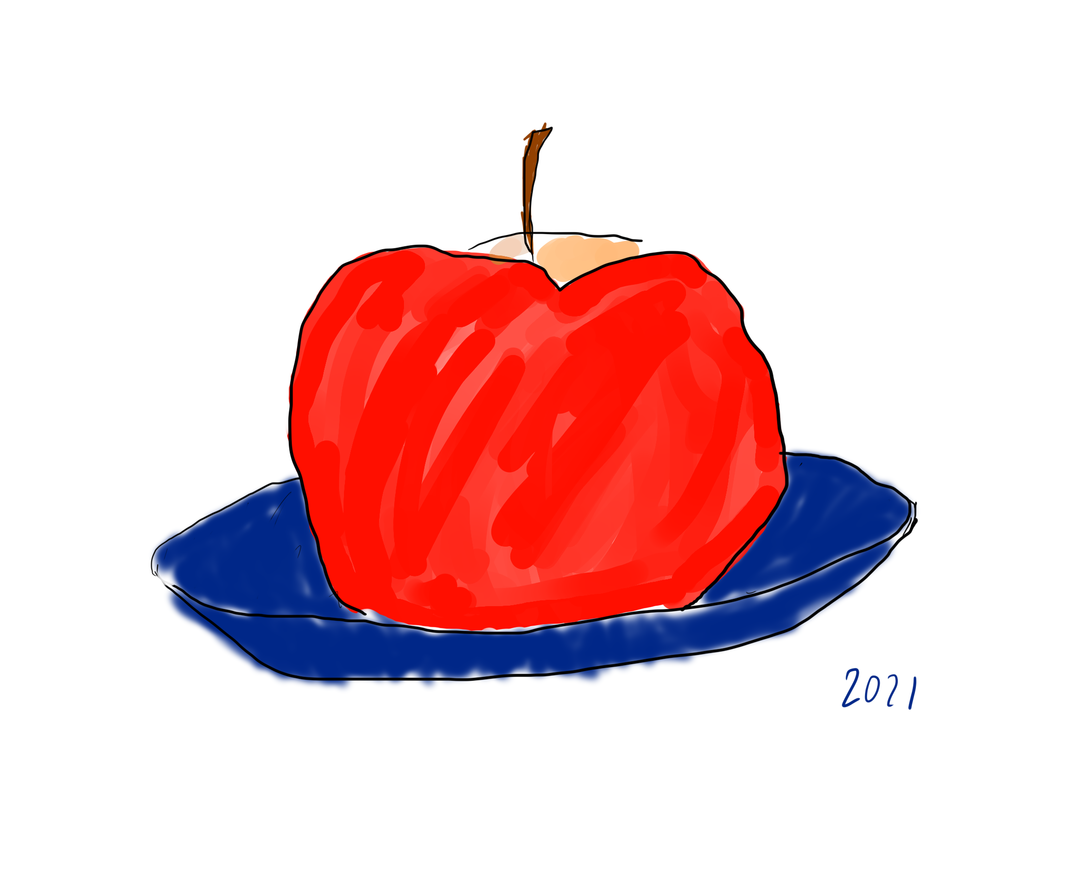 A drawing of an apple on a blue plate