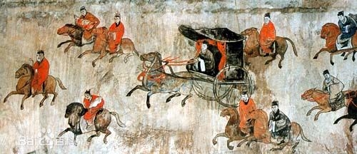 [Resim: Dahuting_Tomb_mural_cavalry_and_chariots...ynasty.jpg]