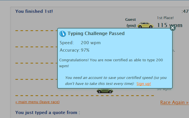 200 WPM at 97% accuracy on the TypeRacer captcha test