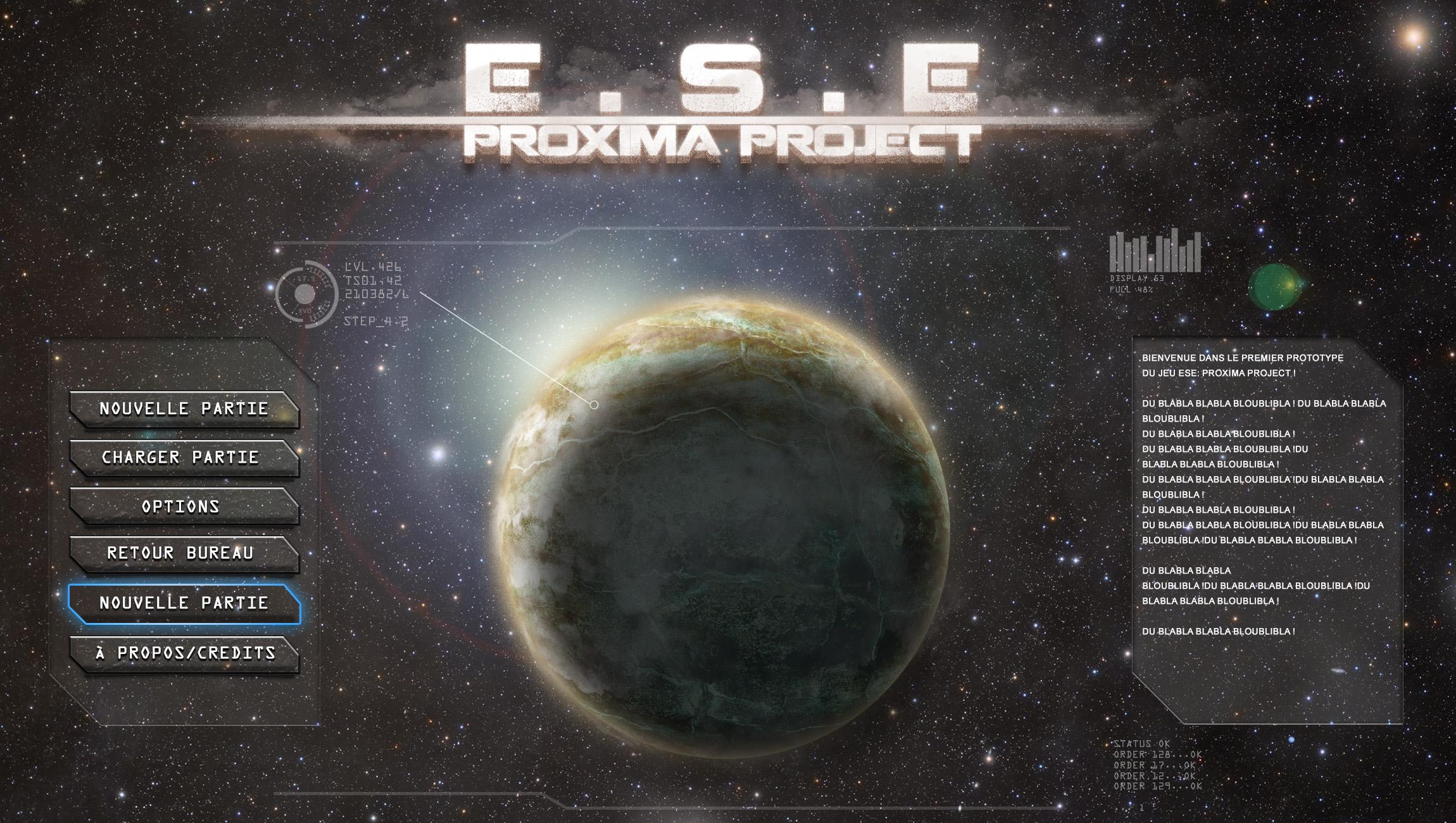 Projet Proxima, Tower Defense/Gestion/Micro-gestion.  Menutitre2