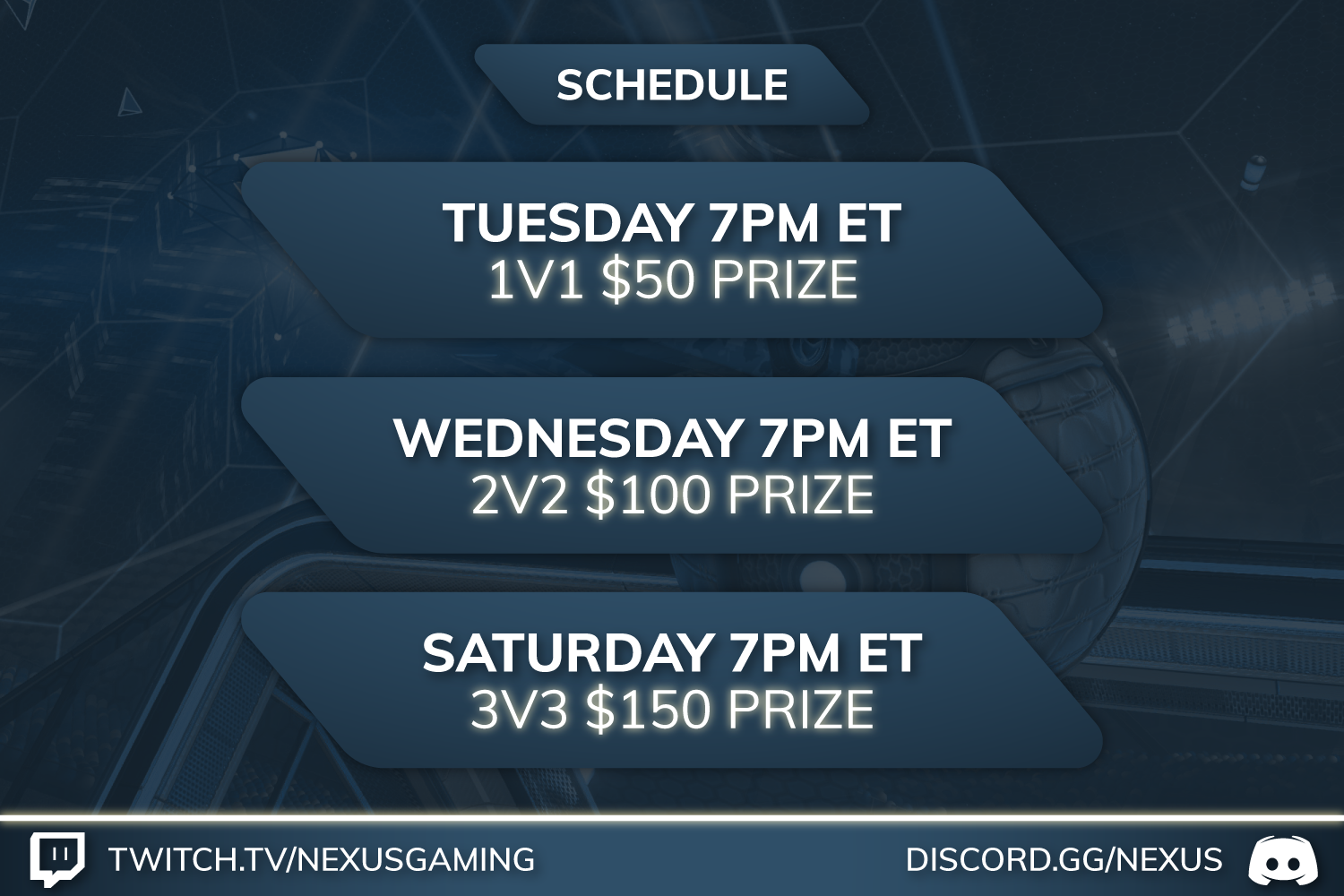 Nexus Gaming weekly schedule