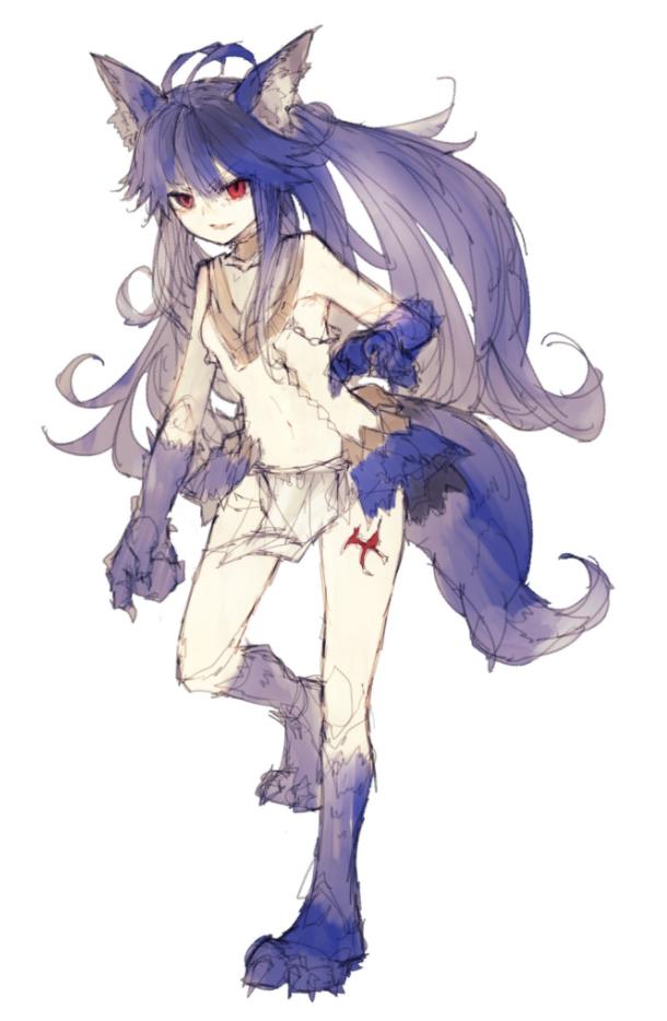 Fenrir Granblue Fantasy Anime wolf girl, Anime furry