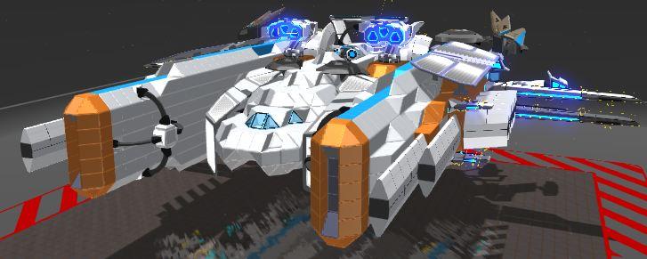 Ah, y'as un concours ? Bon ben j'vais participer alors... J'espère que ça plaira =3 Je vous présente le Armored Spaceship Vulcan, saisseau lourd de soutien !