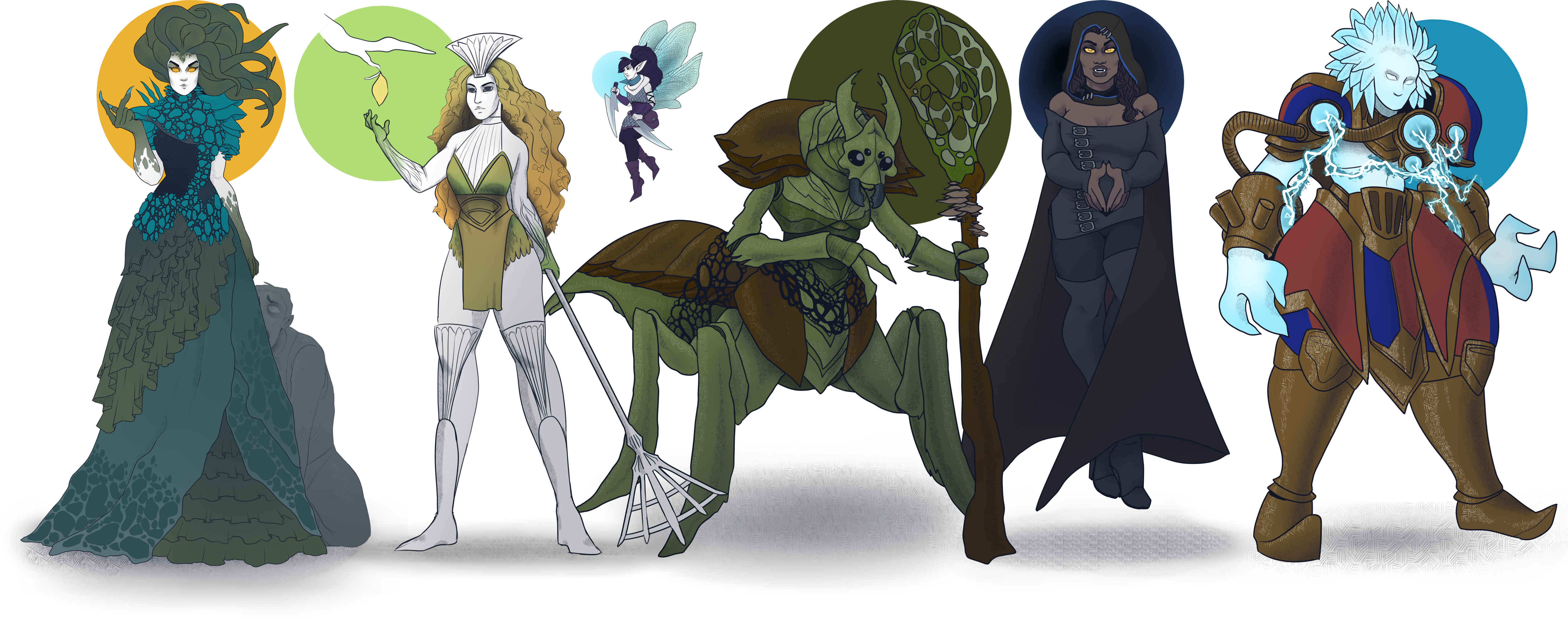 A lineup of characters. A gorgon staring at the viewer with a petrified figure beside her, a dryad, holding up her hand at a growing branch, a kraul (a large insect) holding a staff with fungi growing on it, a small faerie holding two daggers, a vampire in a black cloak hovering while she looks at the viewer, and an elemental, wearing red and blue robes, crackling with lightning