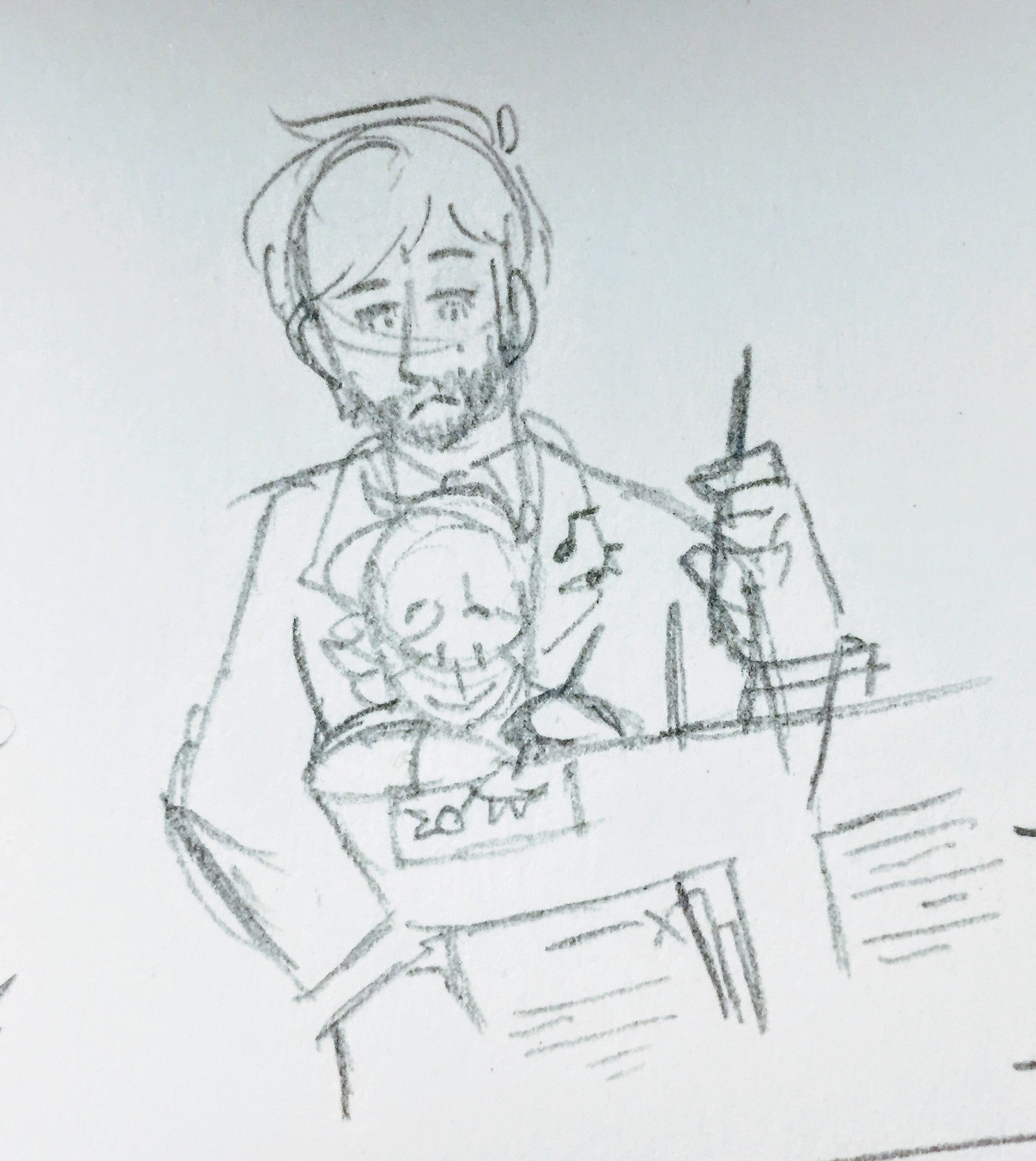 Alan sits in Howard's lap and happily draws as Howard works