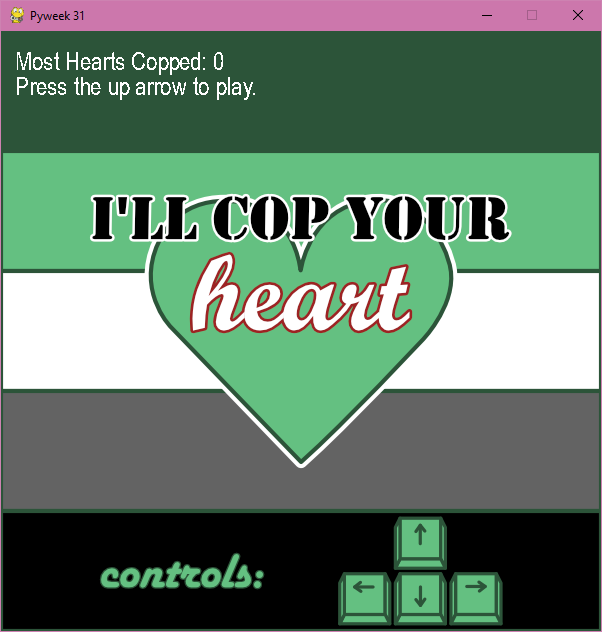 A screenshot of the menu screen. It contains a high score (hearts copped), instructions to play, and the game title.