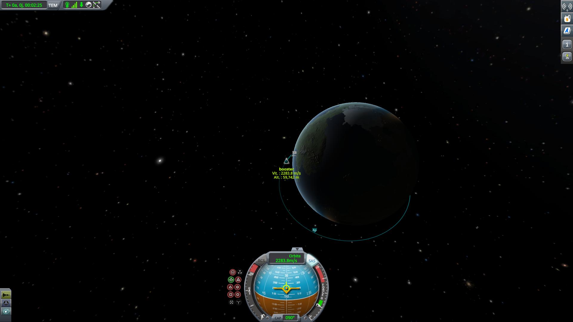 trajectoire suborbitale du booster
