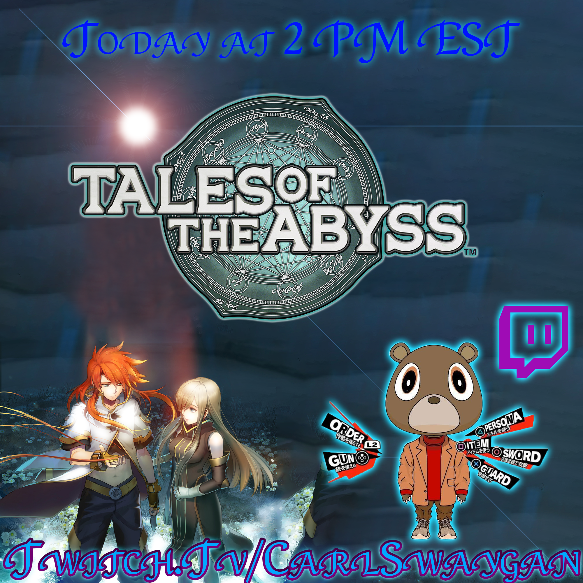 Playing Tales of the Abyss for the first time Tonight live Tales_ad_todayyy