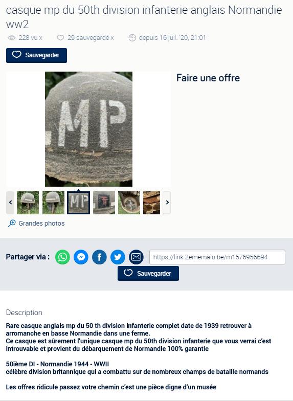 Rare casque anglais Mp 50 th division infanterie ww2 Normandie  Unknown