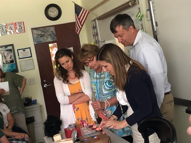 5th grade teachers trying to solve the puzzles.