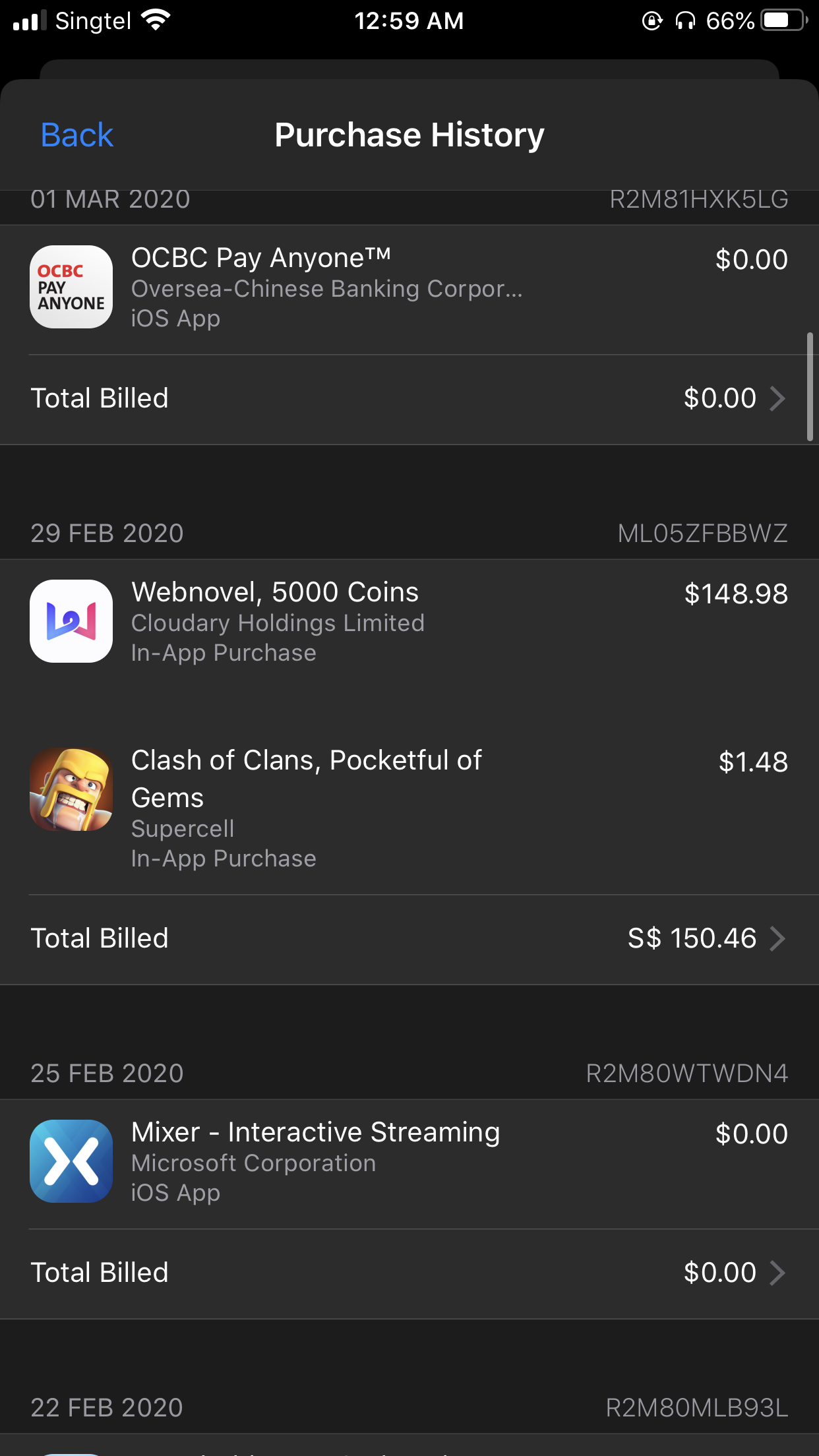 app store purchase history