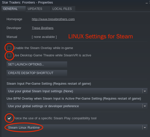 Working Steam Settings