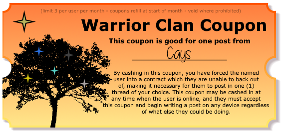 Warrior Clan Coupons - Make your friends post! Postcoupon_cays
