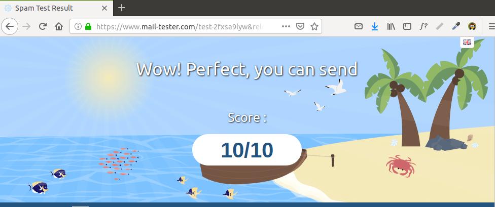 Testing Email Score and Placement | Organización FxZ | Instalar tu propio sistema de correos - IRedMail Ubuntu 18.04