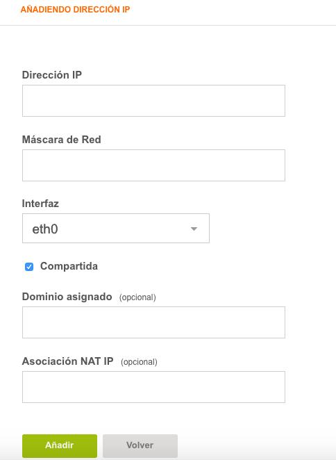 Como instalar VestaCP - Campos para editar o añadir una nueva ip