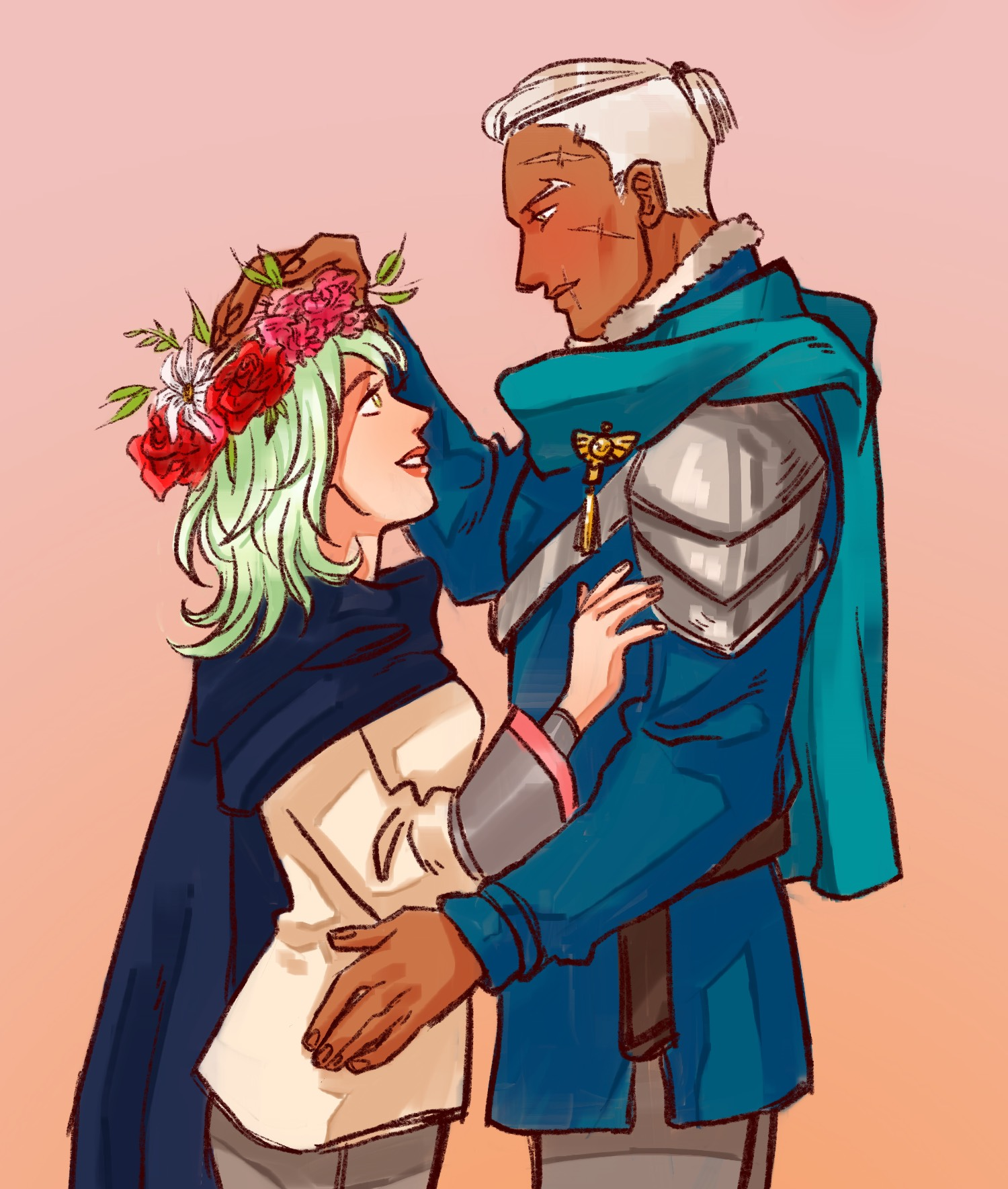 Dedue stares down at Byleth, adjusting a flower crown on her hair that he has made for her.