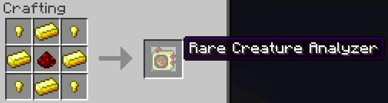 The recipe for the Rare Creature Analyzer.
