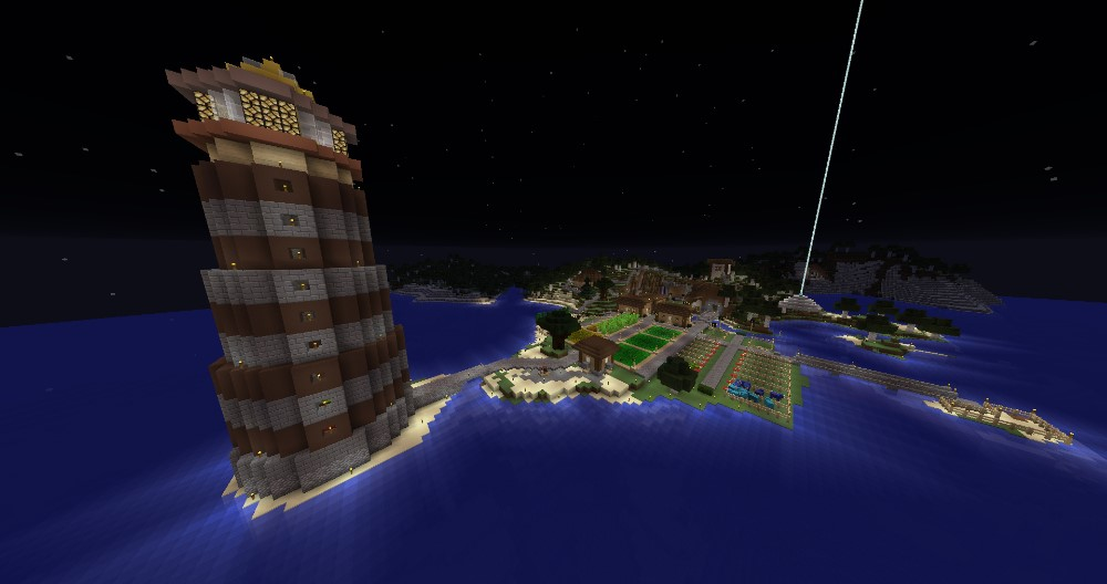 Welcome Village, complete with farms, resource vault, villager trading hall, and lighthouse!
