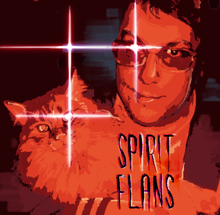 John F holding his cat edited to look like the cover of Spirit Phone.