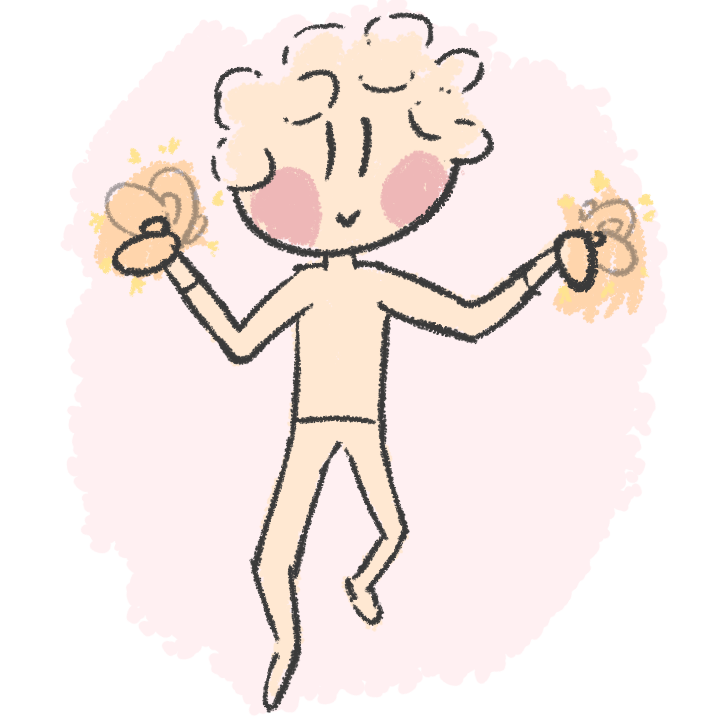 A curly haired enby flapping, their hands glow with energy