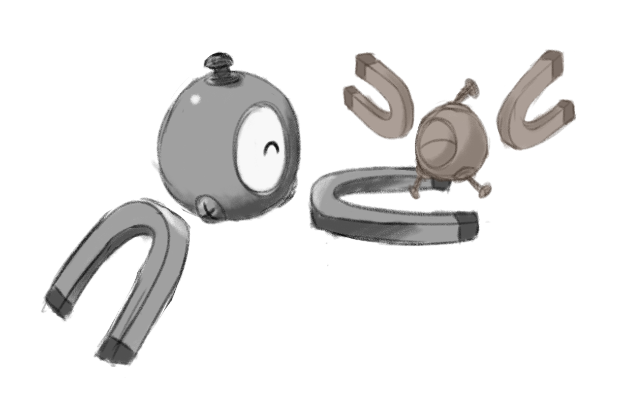 Magnemite friends to scale!