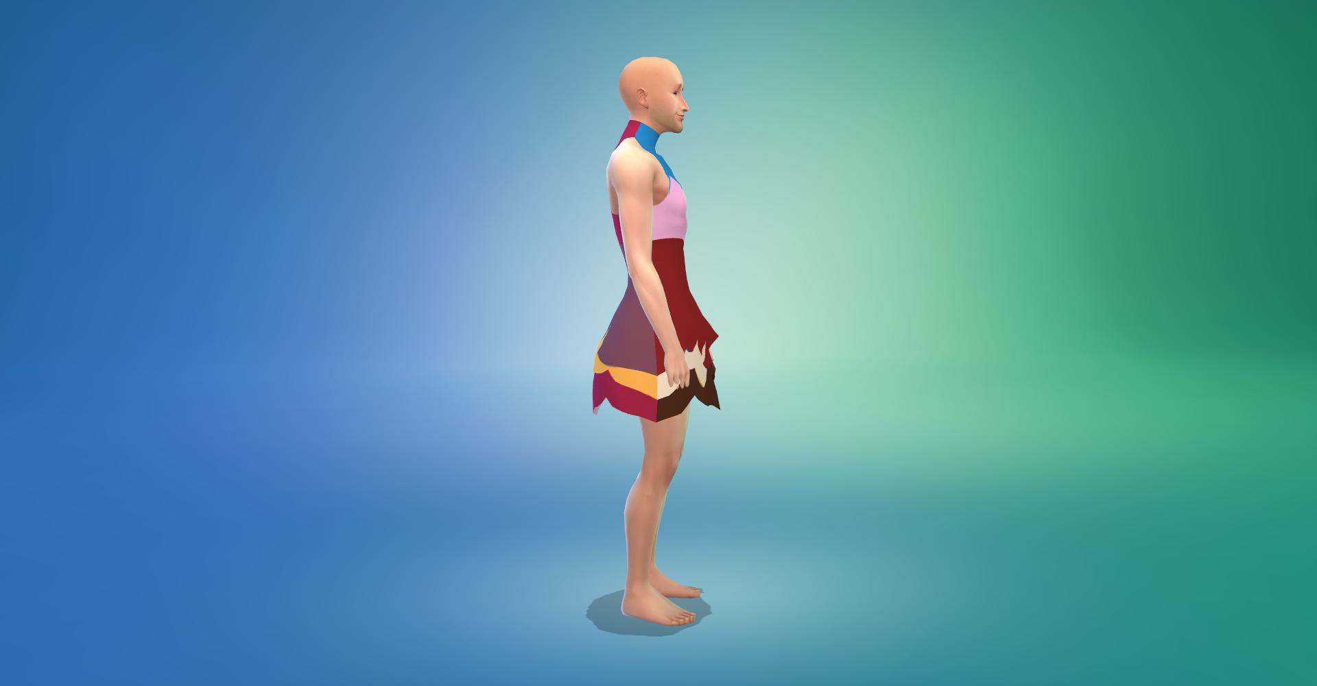 masc sim wearing dress
