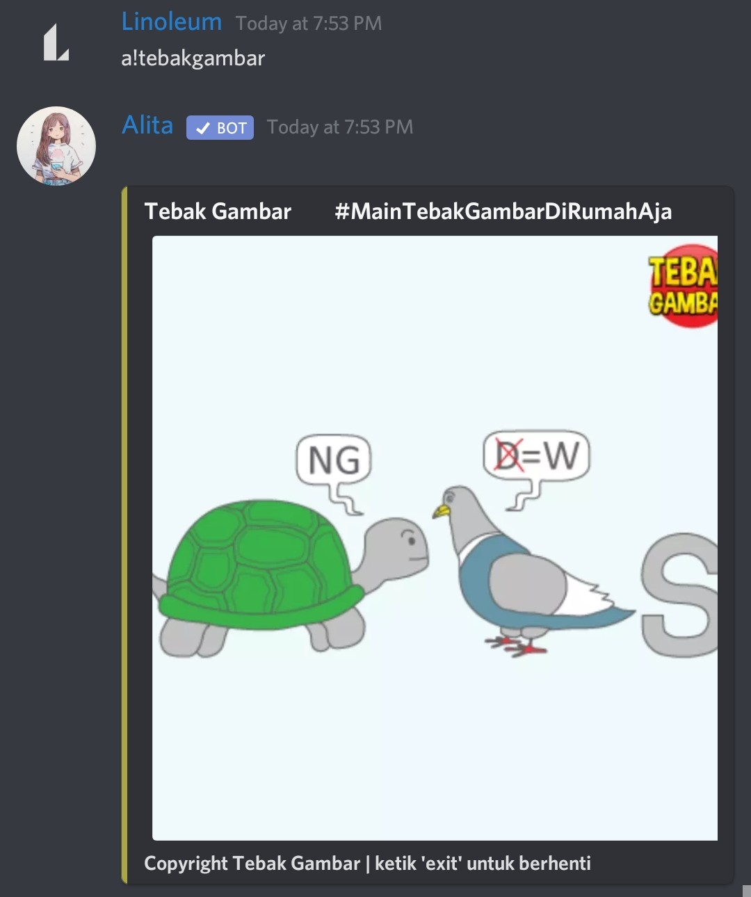 Tebak Gambar Alita Bot Discord Indonesia