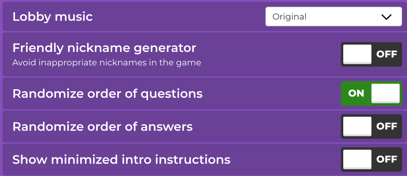 Kahoot Options with Randomize order of questions on