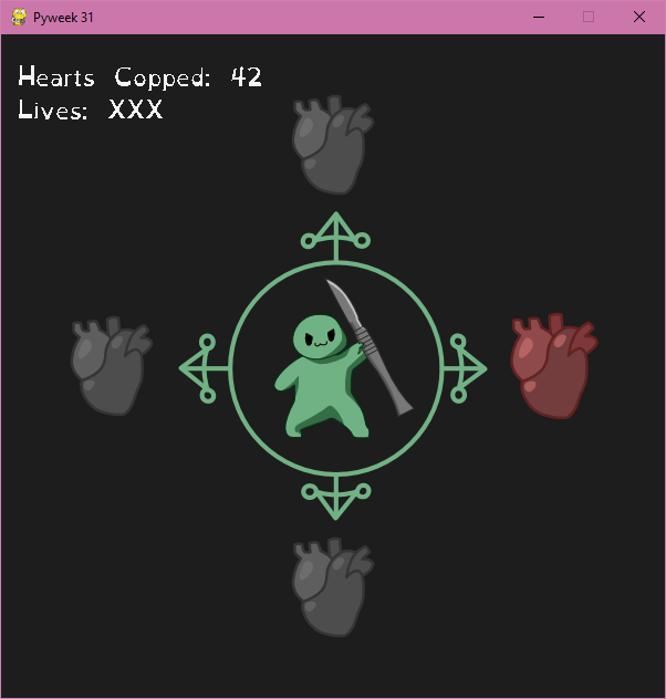A screenshot of gameplay. It has a circle with a green blob holding a scalpel, with hearts in all four cardinal directions. The right one is larger and colored red.