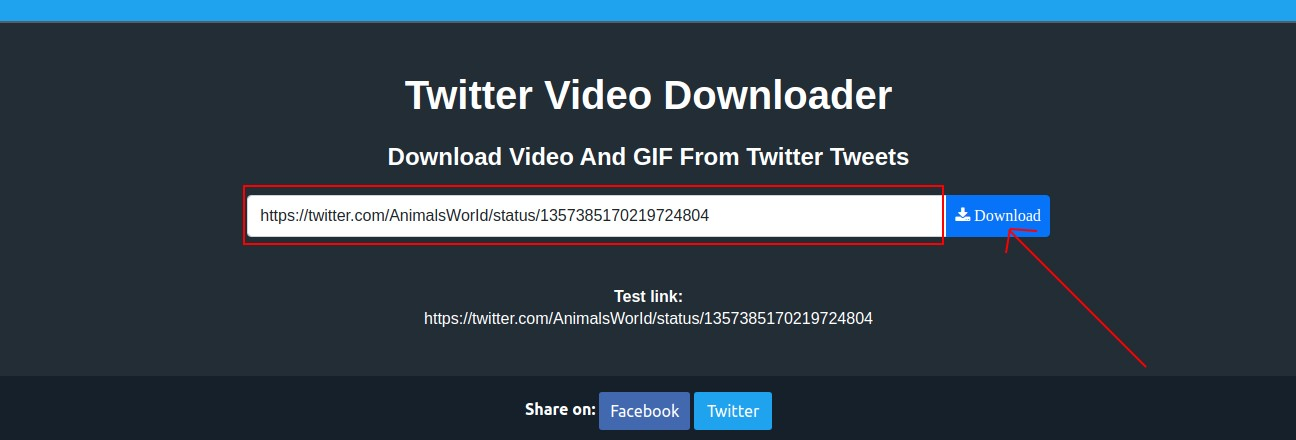 Paste link in the twitter video downloader input-box