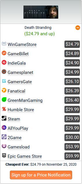 Death Stranding Prices