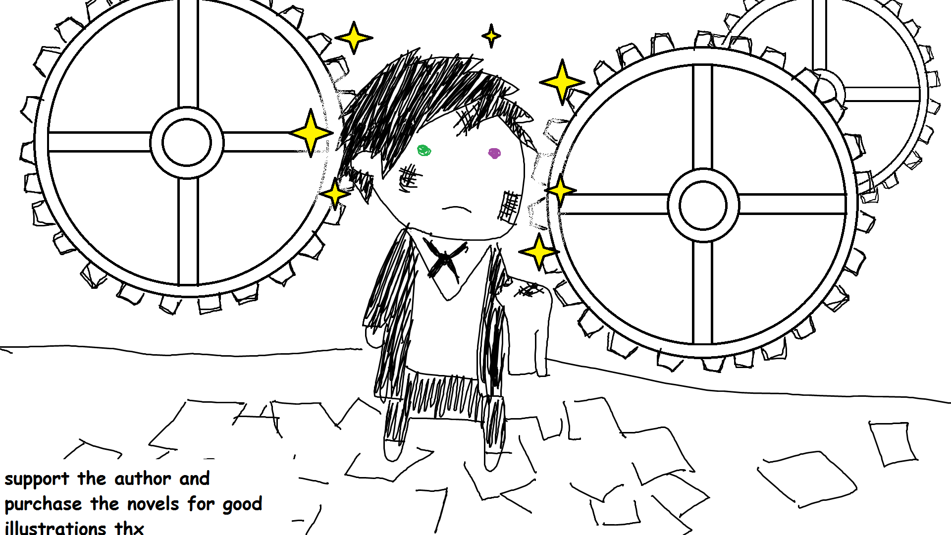 [Black and short hair boi wearing uniform with a similar top to leticiel but pants instead is standing and looking straight forward. His cheeks are dirty. Hes holding a towel in his left hand. Behind him is that generic ton of clock gears thing you see in a lot of chinese cartoon the bottom left and top right portions are just pitch black though and there're a bunch of papers on the ground]