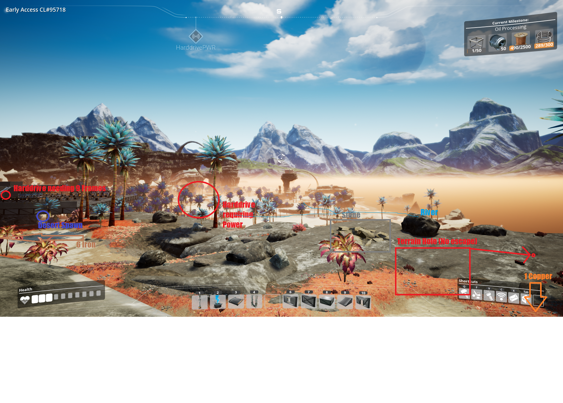 Image shows a desert hole and some landmarks
