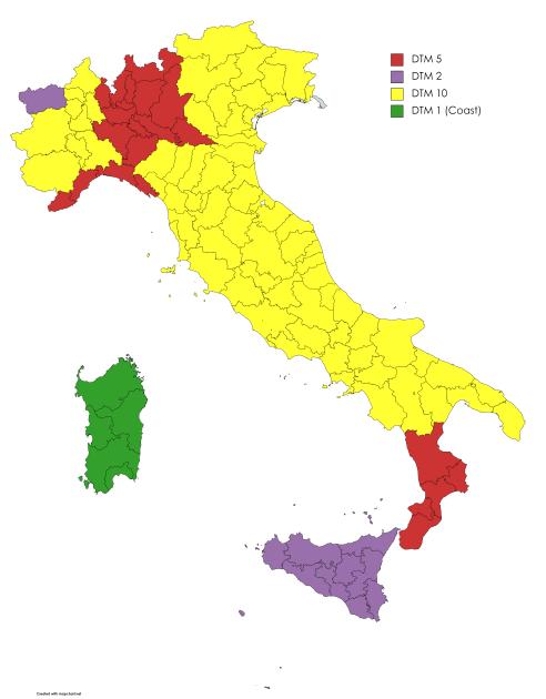 Disponibilità dati DTM. In Liguria e Lombardia i dati sono presenti con una precisione di cinque metri. In Sicilia e Valle d'Aosta i dati sono presenti con una inferiore ai due metri e per la Sardegna inferiori al metro. Nel resto d'Italia la precisione è di circa 10 metri.