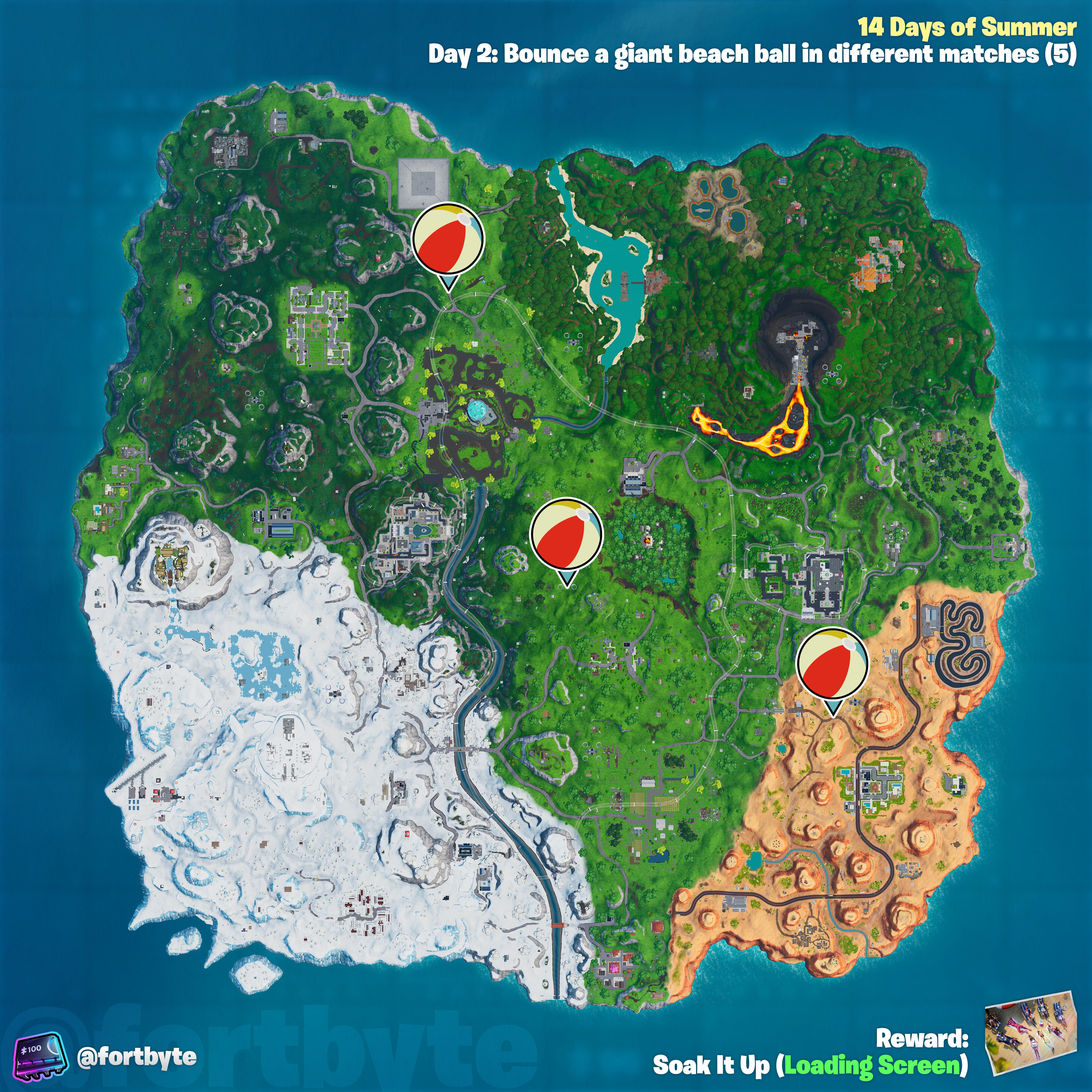 , Fortnite 14 Days of Summer – Bounce a giant beach ball in different matches location guide, AllYourGames.com, AllYourGames.com