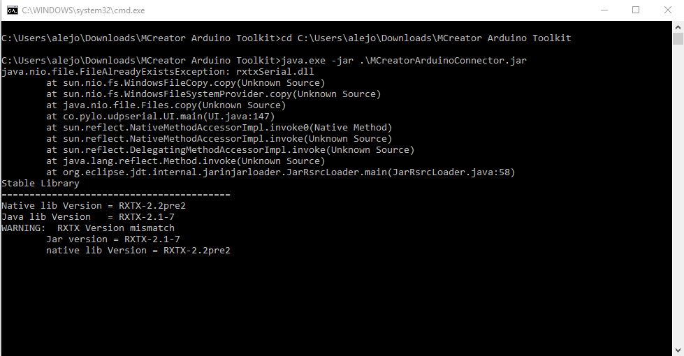 Here is a picture of the command prompt after these changes