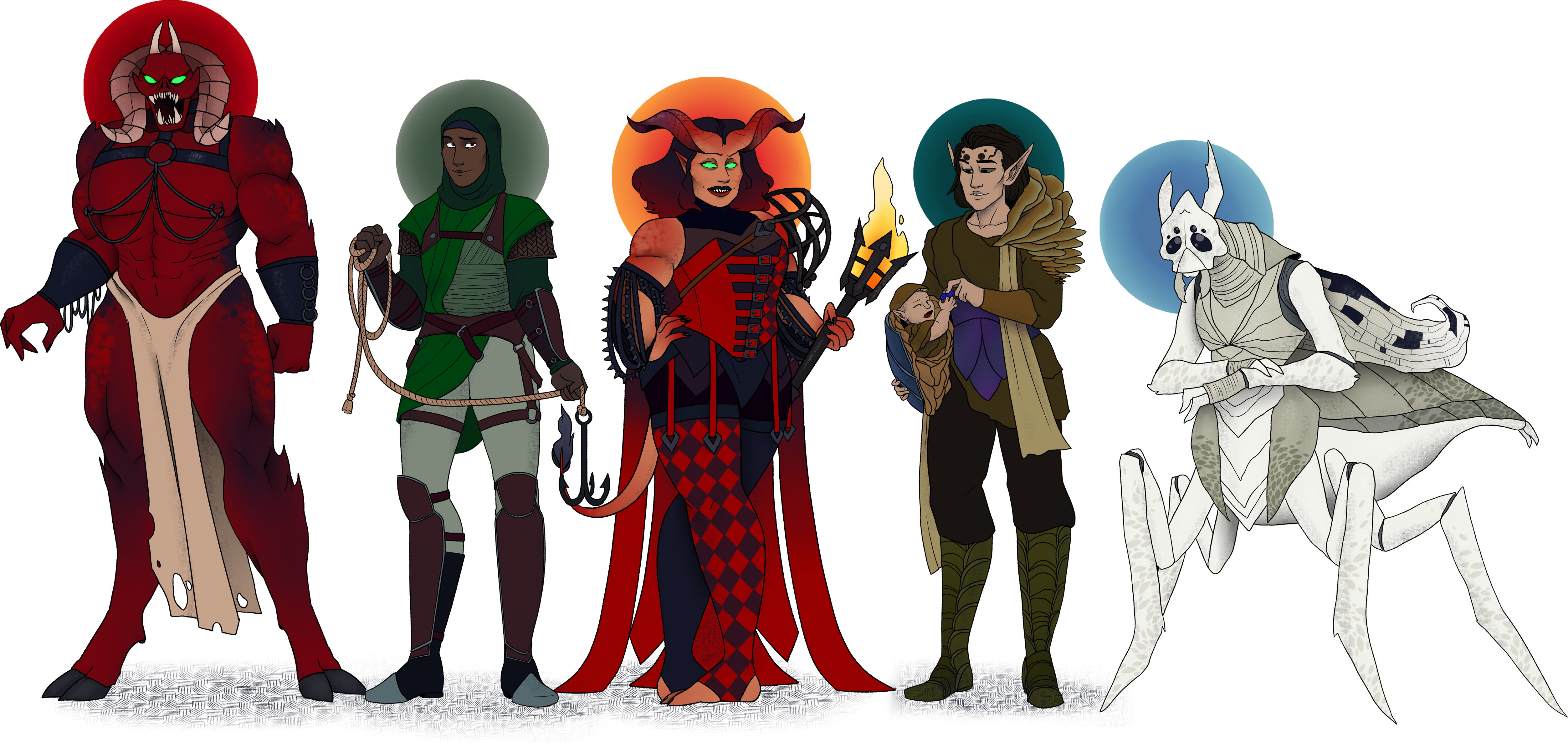 5 Individuals: a towering demon with black and red skin, horns, a snarling face and glowing green eyes; a dark-skinned elf in a climbing harness and wearing a headscarf, holding a rope and grapplig hook; a tiefling-like half-demon with reddish skin and glowing green eyes, weaing a red-and-black harlequin costume and holding a black torch; an elf with dark skin dressed in fungal clothing, holding an infant and passing a berry to the baby; and a pale, hunched mantis-like insect with curling wings