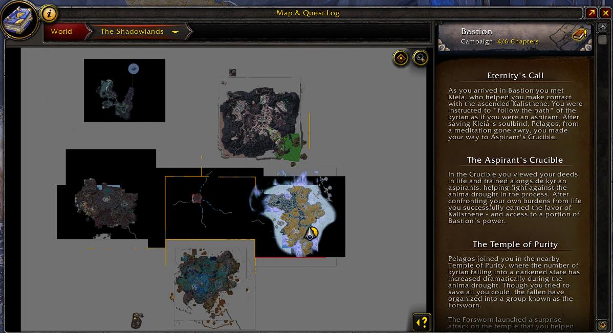 В интерфейсе заданий Shadowlands будет отображаться краткий пересказ сюжета зоны