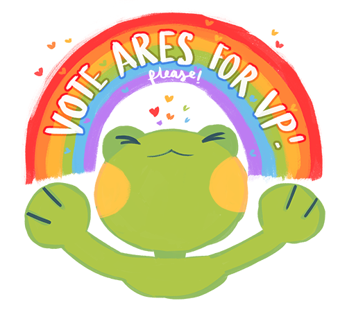 a gay frog asking you to vote ares for vp! (please!)