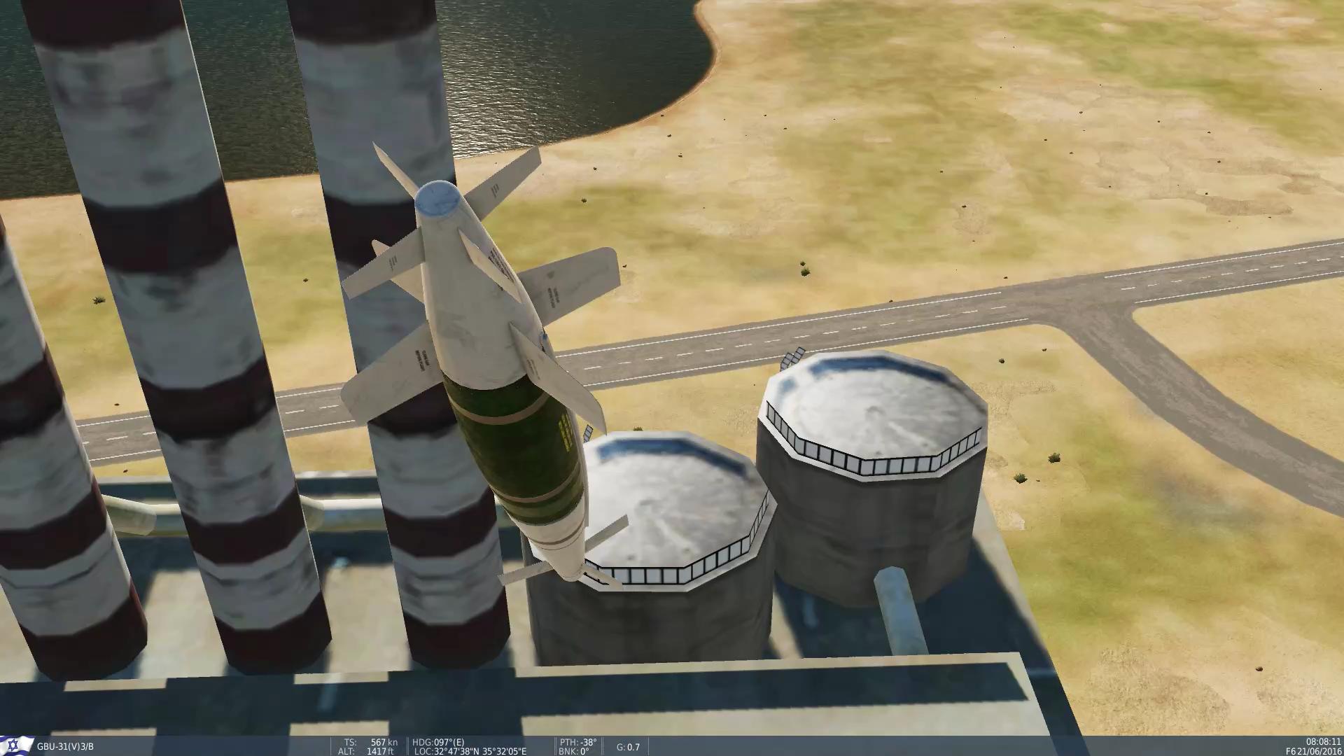 פצצת ספייס (מוד סופה גרסה 1.1) אלפית שניה לפני פגיעה במפעל ליד טבריה