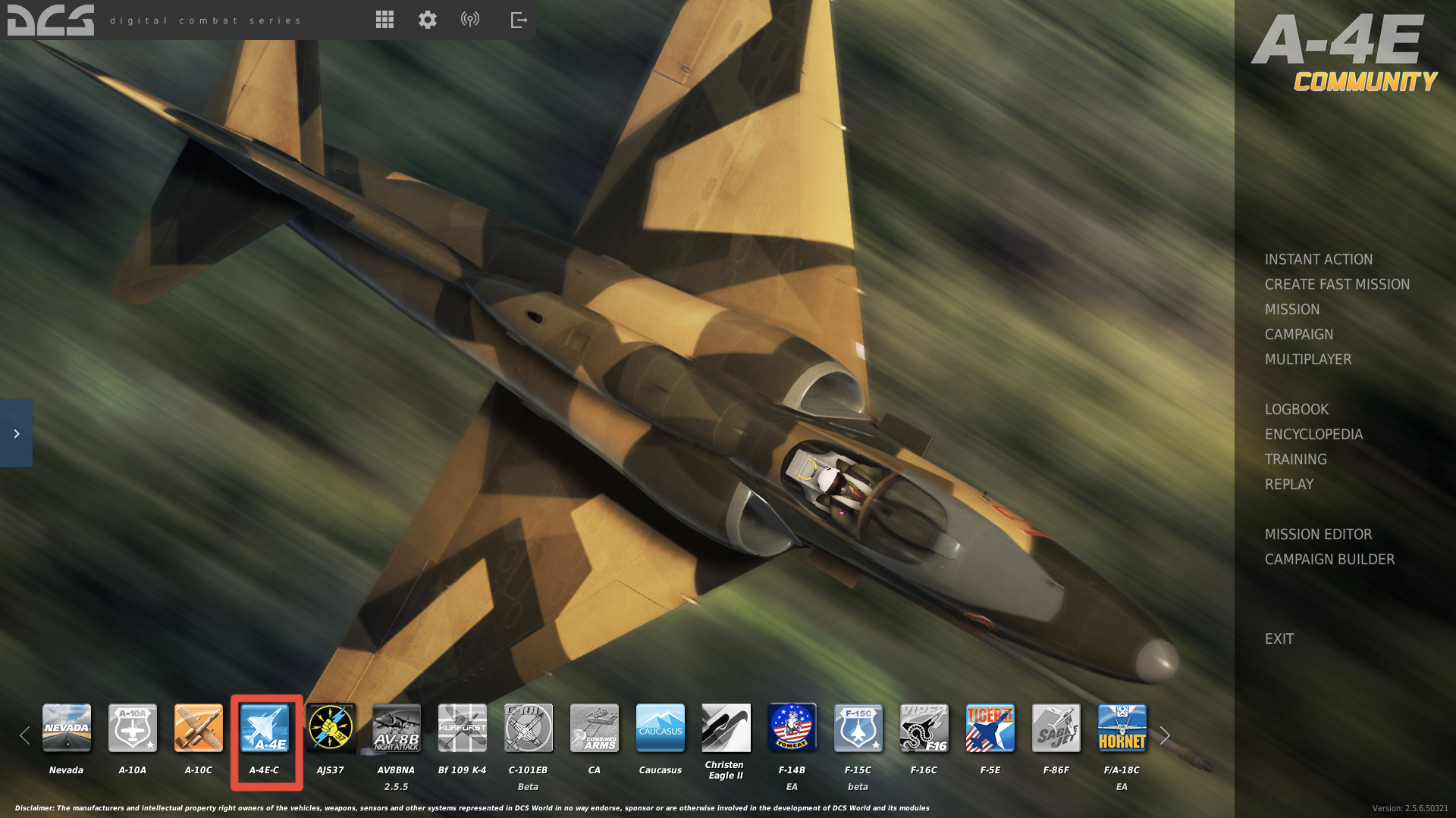 Image of DCS World Menu with A-4E installed