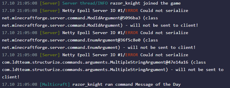 Server output from server administrator