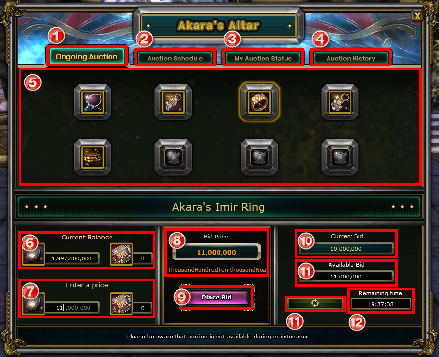 Müzayede Sistemi: Akara's Altar