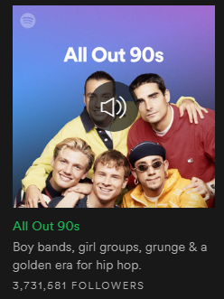 screenshot of the 90s playlist jacket image in spotify
