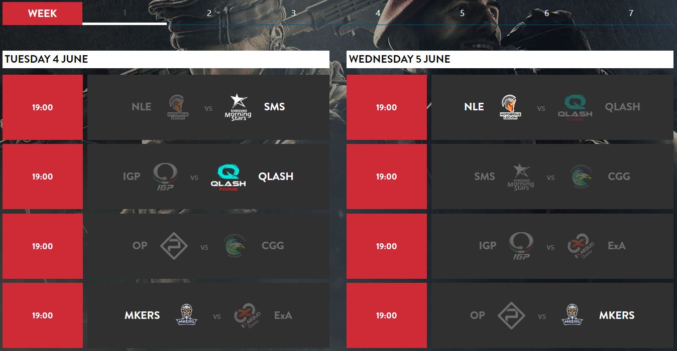 Timetable of the Week 1 Matches