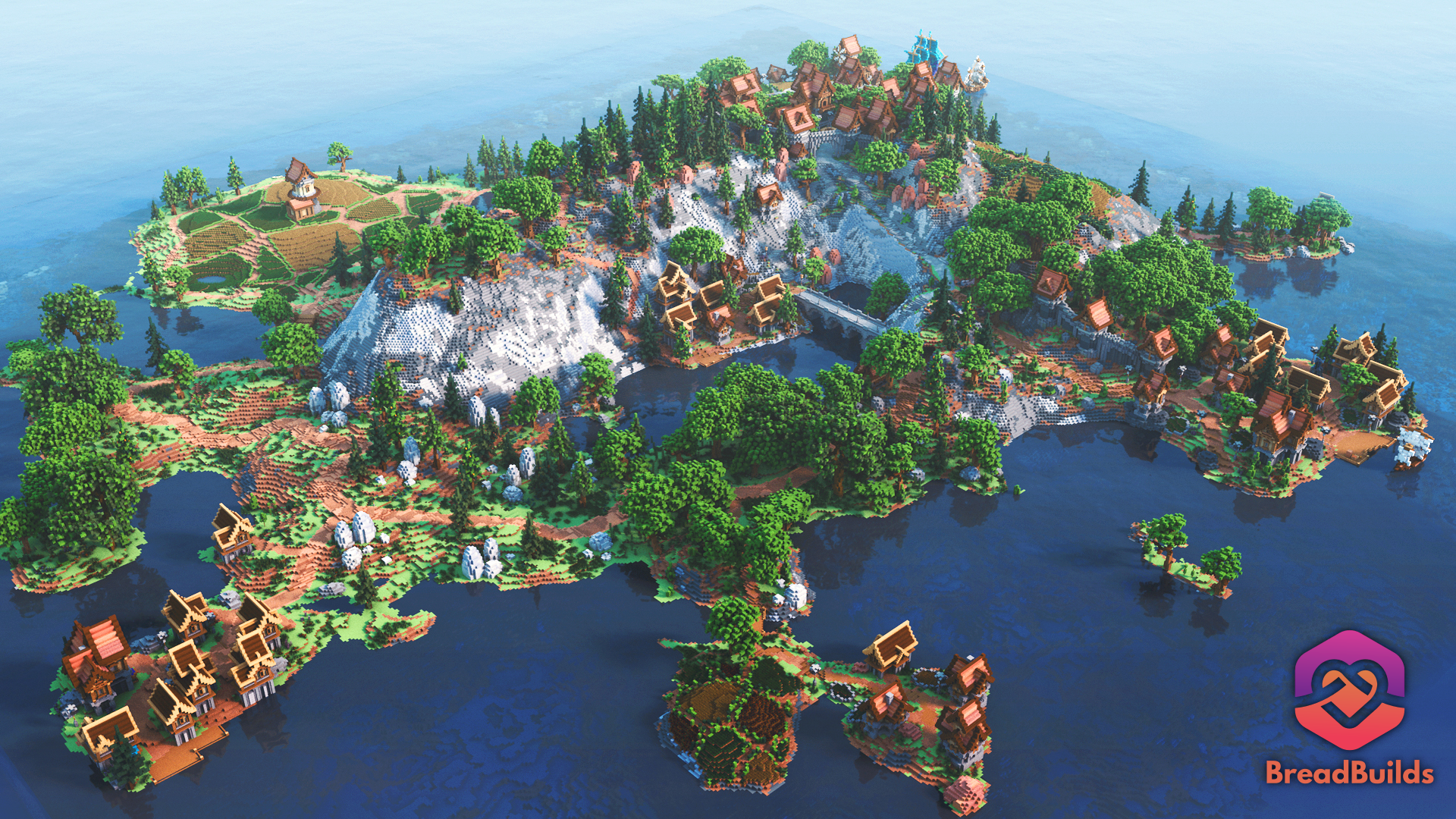 Countryside Lobby ❯ Beautiful Spawn ❯ Medieval Villages ❯ 700x700 Hub Minecraft Map