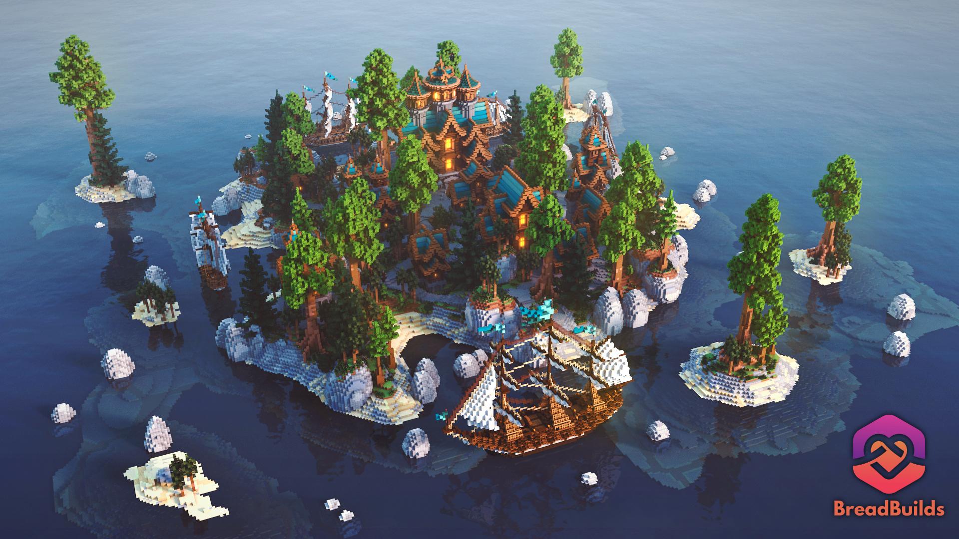 Blue Forest ❯ Beautiful Lobby ❯ 500x500 Hub Minecraft Map
