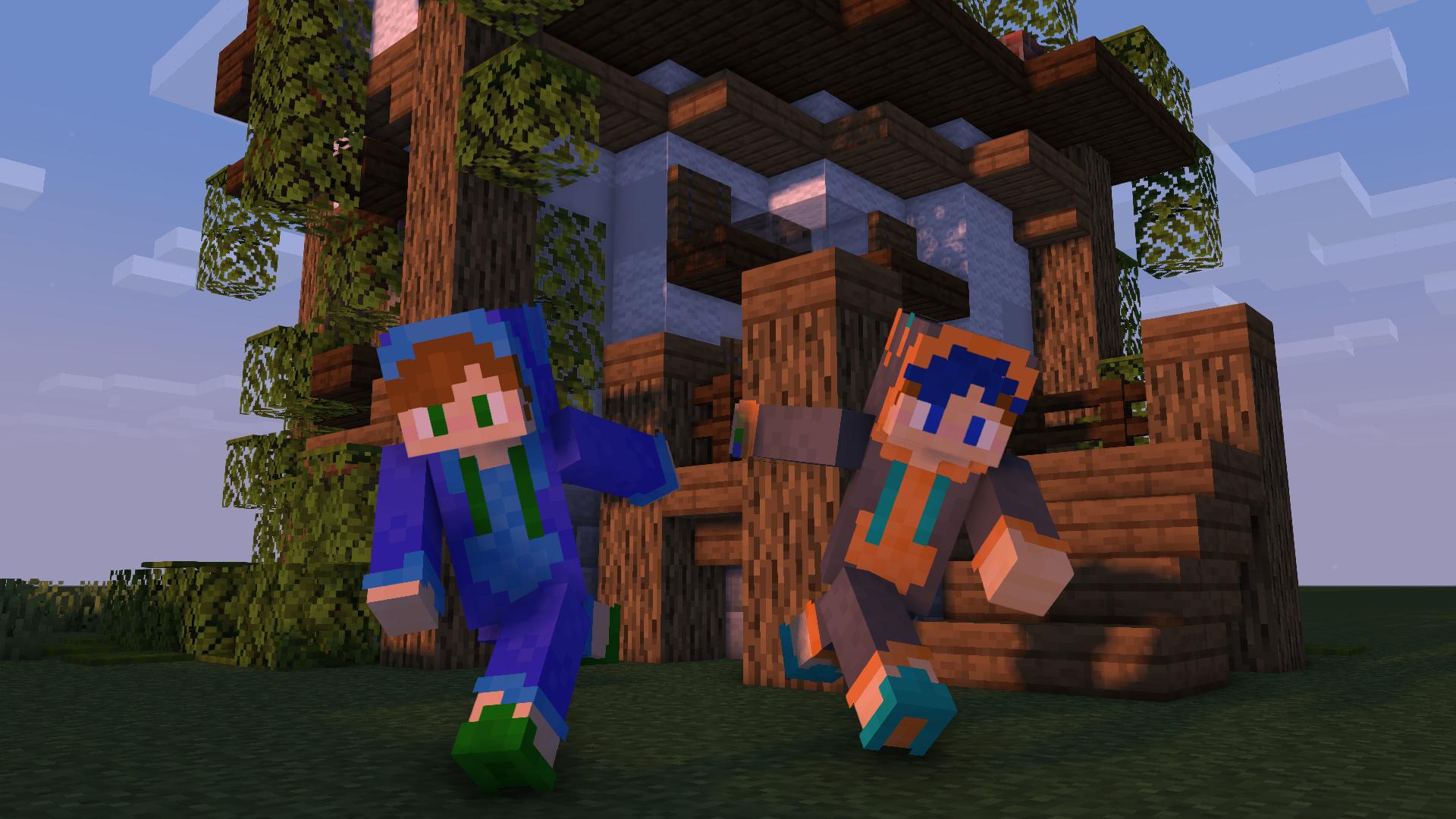 Render of me and my Boyfriend's Minecraft skins!